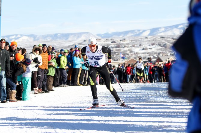 Taylor Fletcher competes at the 2014 Olympic Trials for Nordic combined in Park City, Utah.