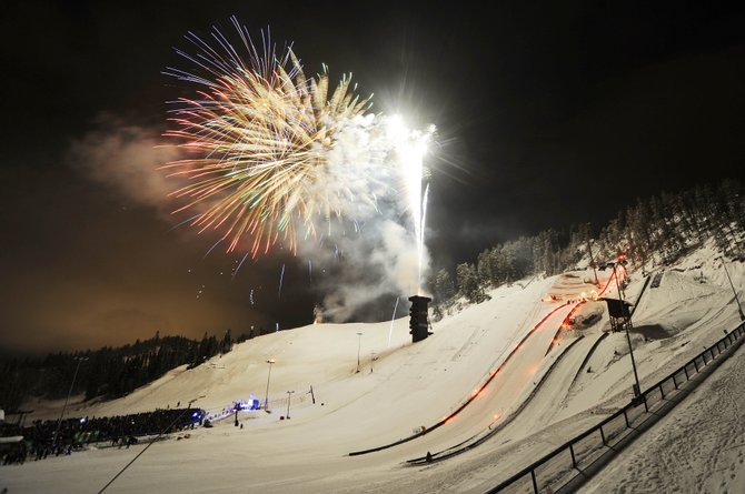 Fireworks explode over Howelsen Hill during the 2013 Winter Carnival Night Extravaganza.