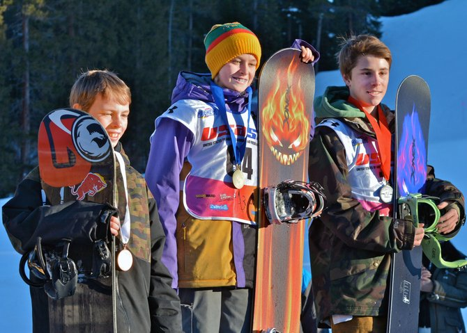 From left, Winston Vaughan, Cody Winters and Ryan Merritt swept the breaker boys division both days of the USASA boardercross event over the weekend at Copper. Winters was first, Merritt second and Vaughan third.