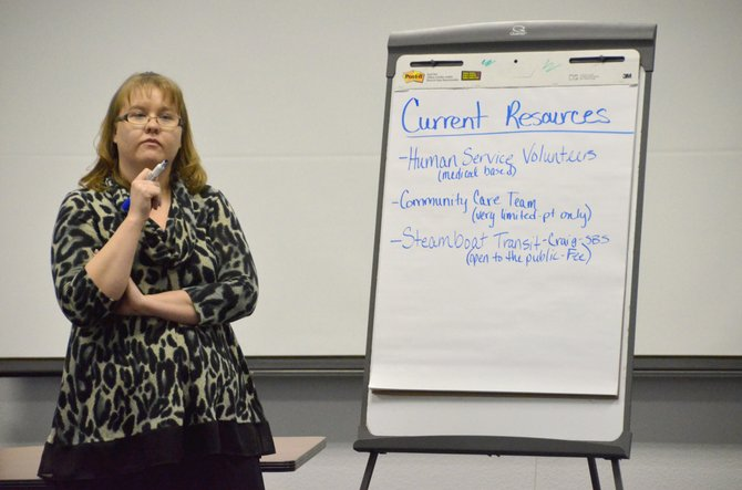 Moffat County United Way Community Impact Coordinator Amanda Arnold compiles a list of transportation options currently available in Northwest Colorado. United Way recently hosted a meeting about and is seeking input on the level of need for public transportation within Craig.