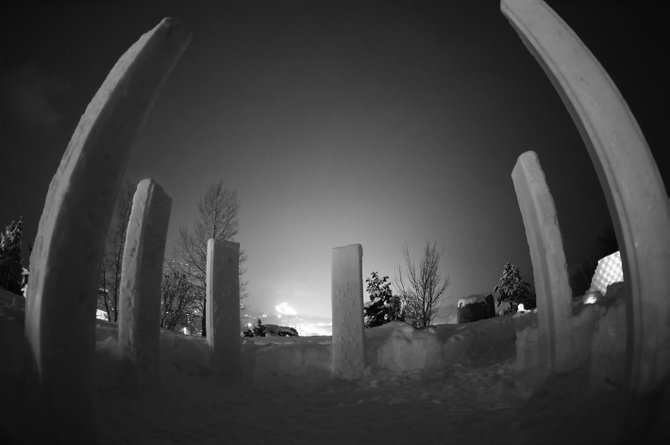 The SKY Club's icy version of Stonehenge, called Snowhenge, consists of six towering monoliths of snow and overlooks downtown Steamboat Springs and Howelsen Hill. From Snowhenge, visitors can peer