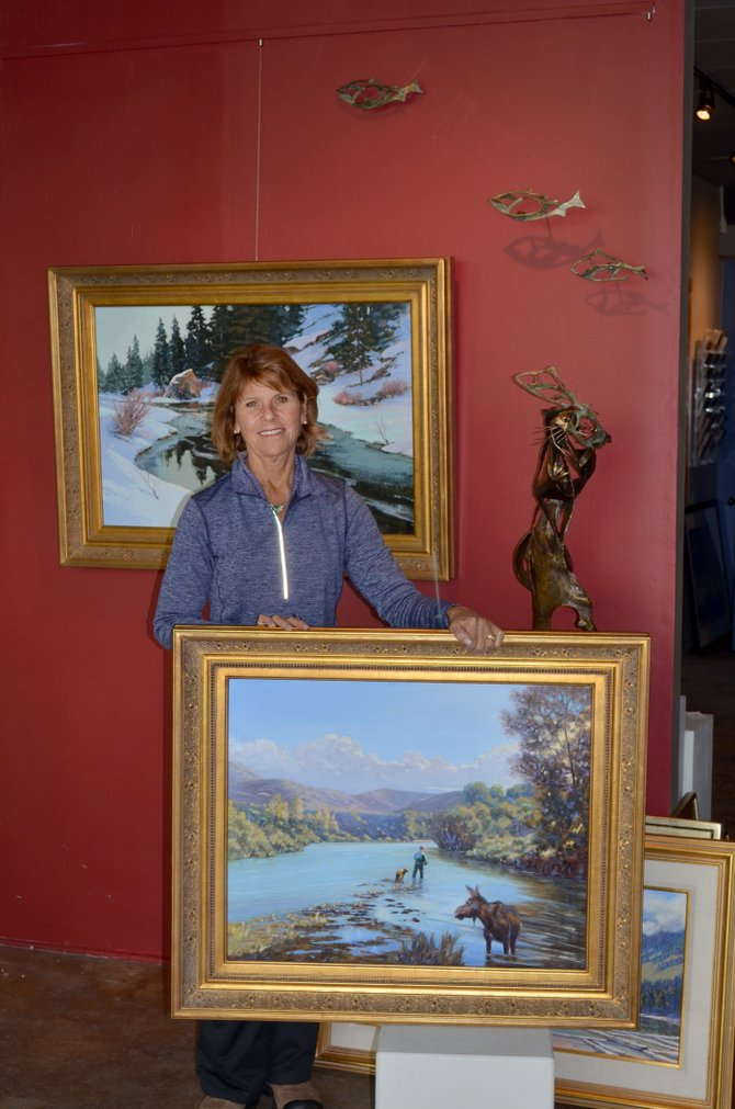 In a complementary pairing of two very different media this week at Circle Seven Fine Art, 1009 Lincoln Ave., Bonnie McGee shows large oil paintings of rivers that are recognizable to Northern Colorado residents, alongside sculptor Sandy Graves' bronze trout. Her brown trout at the same time are abstracted and faithful to the nuances of the fishes' form.