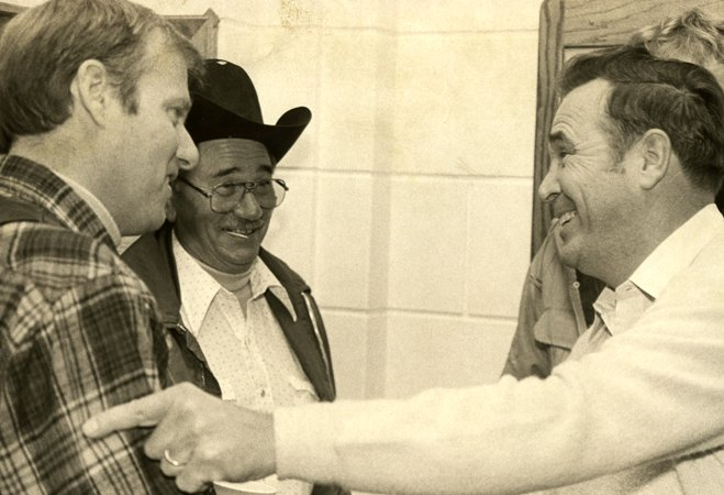 Always the gentleman, the late Routt County Commissioner Bill Haight, right, extends hearty congratulations in November 1986 to Dennis Fisher, left, who upset him in his bid for re-election. Haight successfully had fought to restore commercial airline service to Yampa Valley Regional Airport.