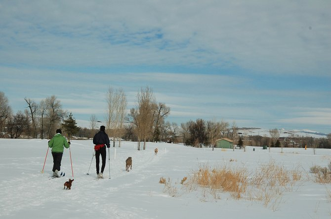 Cross-country skiers enjoy the trails of Northwest Colorado, where snow sports give thousands a wintry outdoor experience.