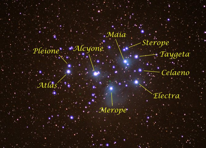 "In this 2007 photo, Mom and Dad (Pleione and Atlas) and their seven lovely daughters (Alcyone, Celaeno, Electra, Maia, Merope, Sterope and Taygeta) form the famous Pleiades or ""Seven Sisters"" star cluster, visible high overhead when darkness falls this month. Binoculars will reveal dozens of fainter cluster members."