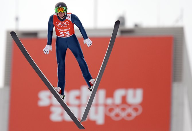 Billy Demong jumps during the final training session before the first Nordic combined competition of the 2014 Winter Olympics, set for Wednesday at the RusSki Gorki Jumping Center in Krasnaya Polyana, Russia. The men's normal hill competition will open Nordic combined events for the Olympics. Demong hopes to add to his medal haul from the 2010 games, where he captured gold and silver.