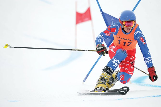 Steamboat Springs Telemark ski racer Tanner Visnick races around a gate during the first of four World Cup events this week in Steamboat Springs. Visnick was 14th and teammate Jeffrey Gay was the top American in 12th place.