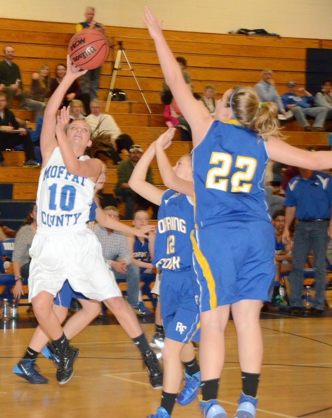 Jazmine Swindler puts up a shot at the end of the first quarter Saturday in Craig. Swindler led Moffat County with 10 points as the Bulldogs beat Roaring Fork, 48-38, and improved to 9-4 in the league.