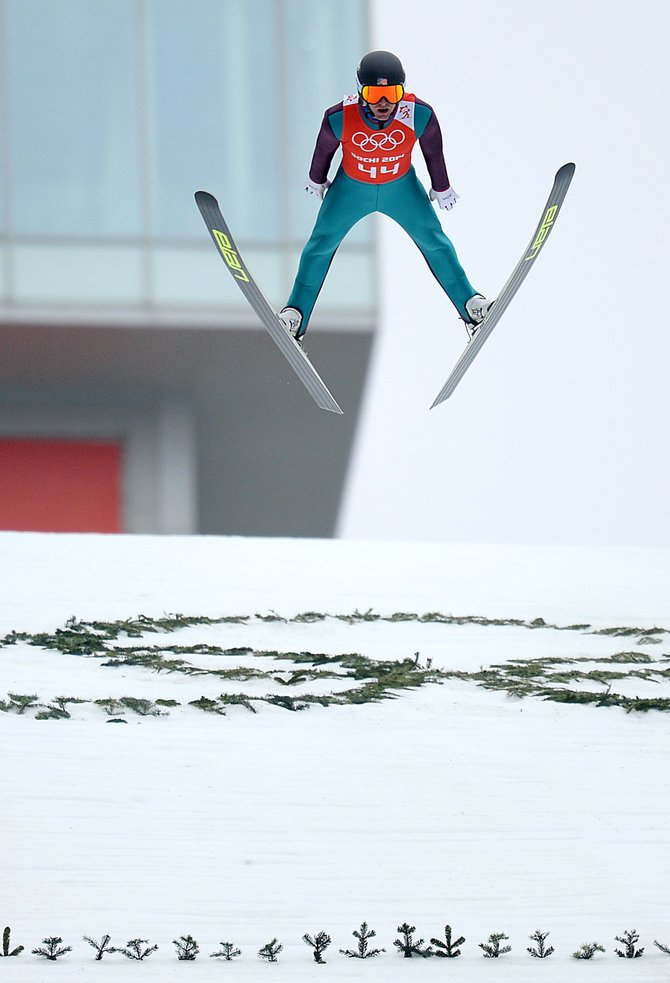 Bryan Fletcher eyes his landing during jump training at the 2014 Winter Olympics.
