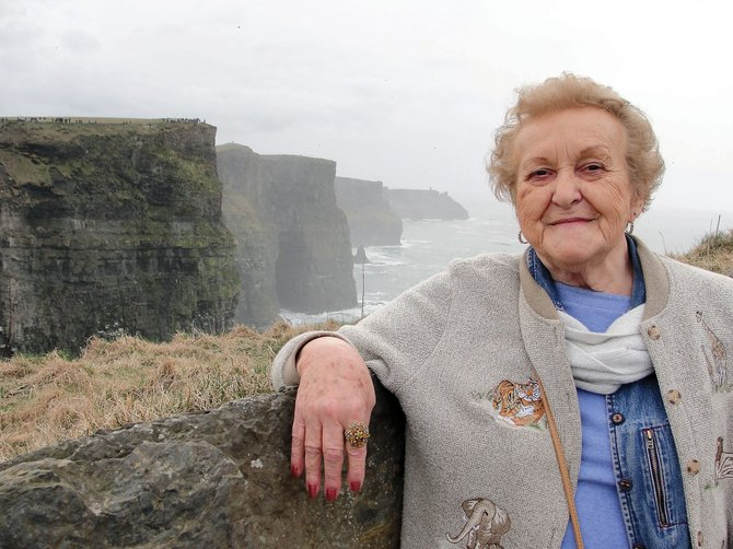 Mae McCollum stands overlooking the Cliffs of Moher in Ireland during the 2010 spring break trip sponsored by Colorado Northwestern Community College. This year's trip, May 14 to 22, will be to Barcelona and Girona in Spain.