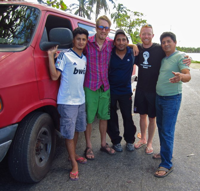 """Mi Casa es Su Casa."" Brian and Roddy from the Camino a la Copa team, driving from Steamboat to Brazil for the soccer World Cup, with Isaias, Asuncion and Miguel Izquierdo, who spend summers in Steamboat Springs and winters at home in Tabasco."