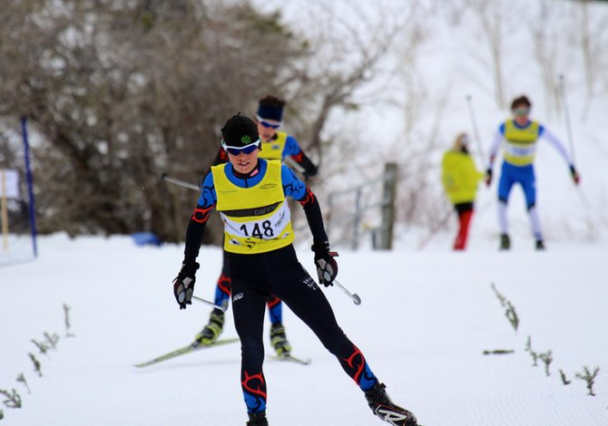 Steamboat Springs Winter Sports Club cross-country skier Simon Zink heads for the win in one of the two Rocky Mountain Nordic Junior National Qualifying races he won in Minturn last weekend. He is one of 13 athletes who will be competing at the 2014 USSA Junior National Cross-Country Championships in Stowe, Vt., next week.