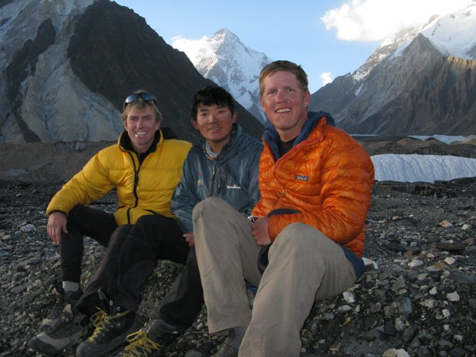 "American 300 Tours volunteers Eric Meyer, from left, Chhiring Dorje Sherpa and Chris Klinke is pictured with K2 in the background. In association with the American 300 Foundation and Rural Partners in Medicine, the documentary ""The Summit"" will be shown at 7 p.m. Friday and Saturday at the Chief Theater."