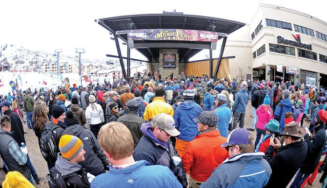 A large crowd gathers at the base of Steamboat Ski Area in early January to listen to the Dirty River Boys play as part of MusicFest. Sales tax collections in the mountain district were up 20 percent in January 2014 over January 2013.