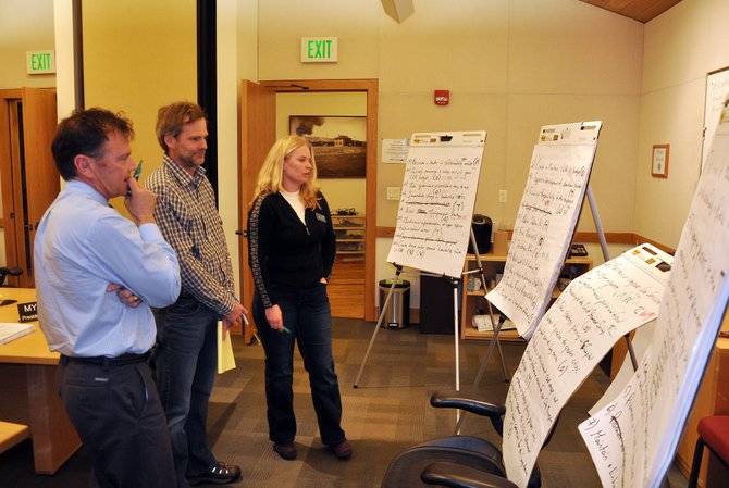 Steamboat Springs City Council members, from left, Tony Connell, Scott Myller and Sonja Macys weigh which objectives they want to endorse. The council talked about goals and objectives for the coming years at a retreat in Centennial Hall earlier this month.