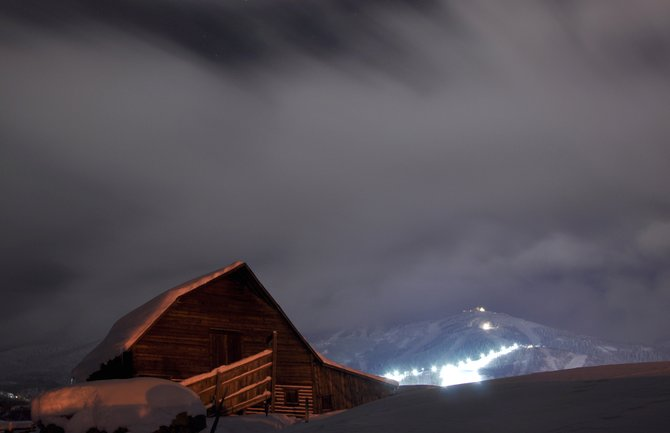 Lights at Steamboat Ski Area shine behind the More Barn during a long exposure during the holiday season. The ski area is expanding the number of days it offers night skiing and planning to illuminate a new run for exclusive use by the Steamboat Springs Winter Sports Club.