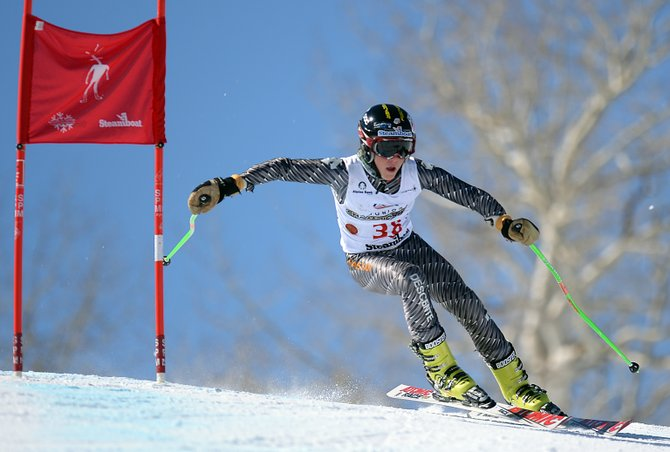 Sam Frackowiak cuts around a corner on Vagabond on Wednesday during a super-G race at Steamboat Ski Area.