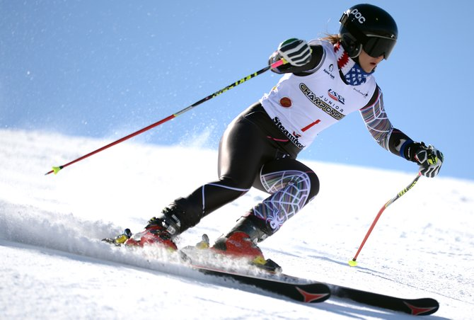 Storm Klomhaus flies down See Me on Thursday during the U16 giant slalom race at Steamboat Ski Area. Klomhaus, a Winter Park skier training with the U.S. Ski Team Academy, won the race, adding GS to her wins in downhill and super-G from earlier this week. She'll go for the sweep Saturday in slalom.