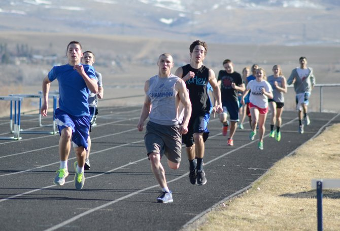 Moffat County's sprinters, including senior Kelly Campbell, front right, hope to be big scorers for both the boys and girls teams in track and field this season.