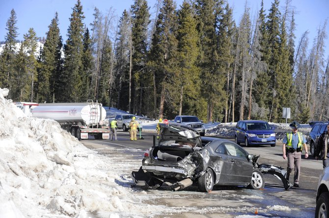 Traffic goes by an accident Friday morning on Rabbit Ears Pass.