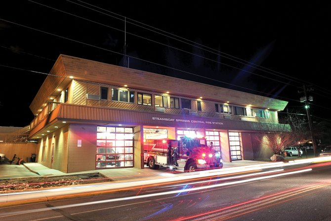 A fire engine leaves Steamboat Springs' downtown public safety building. Possible building sites for a new police station is one of the items the city council could tackle in the coming weeks.