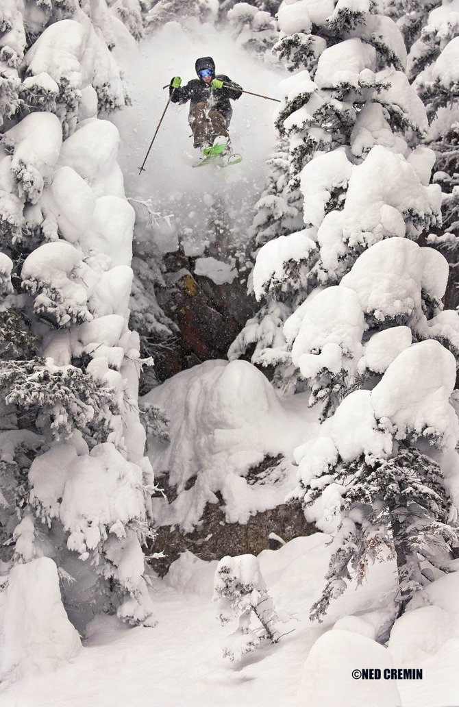 Brendan Wu shoots off a cliff in the Steamboat backcountry earlier this winter, as photographed by Ned Cremin. The photograph was selected as the winner of a contest sponsored by North Face and organized by Teton Gravity Research.