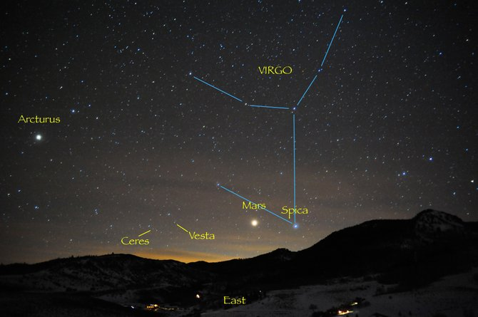 Look for the red planet Mars and bright star Spica rising together in the eastern sky shortly after darkness falls this week. Two large asteroids, Ceres and Vesta, also are close by, but they will require binoculars to see. The Moon will be in the neighborhood when, on April 14 and 15, it will be totally eclipsed by the Earth's shadow.