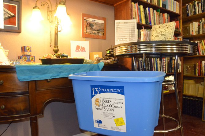 A donation bin set up in Downtown Books awaits contributions to the 13x3 Book Project by Friends of Moffat County Education. The group is seeking 13,000 books, new or gently used, by April 13 to give to preschool through fifth-grade students as summer reading.
