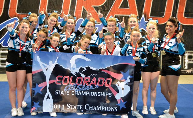 Steamboat's Rocky Mountain Cheer team captured the state title at the Colorado All Star State Championships at the National Western Complex on Saturday in Denver. Members of the team included, back row from left, Gabi Seng, Izzy Cox, Hanna Spence, Jordan Anderson, Emily Groves, Hunter Anderson, Lilly Speiss and Citlali Gomez, and front row from left, Grace Mark, Bailey Gander, Gwenyth McParland, Jocelyn McParland, Zach Gollnick and Makenna Keyek.