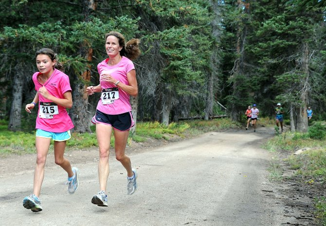 Anna Terranova, left, and Jodi Terranova run in the 10K at 10,000 Feet race on Rabbit Ears Pass. The trails lodging tax committee is evaluating several multi-use trails that are proposed to be built in the Rabbit Ears Pass area.
