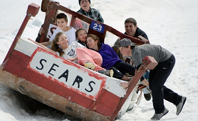 """The """"Sears Sleeper"""" barely managed to stay right-side up at Saturday's 34th annual Cardboard Classic at Steamboat Ski Area."""