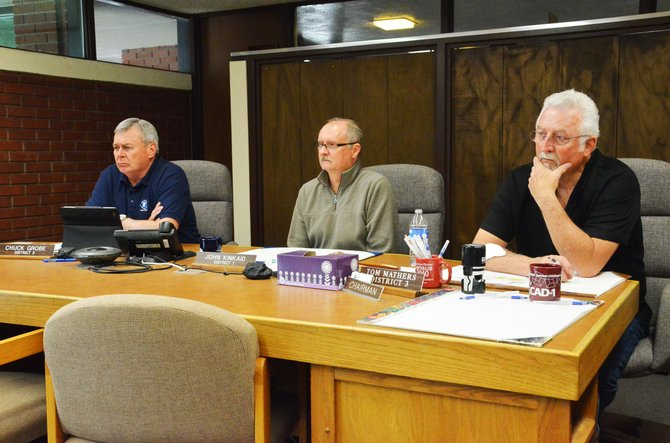 From left, Moffat County Commissioners Chuck Grobe, John Kinkaid and Tom Mathers.