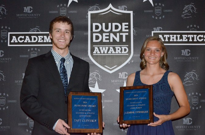 Taft Cleverly and Jazmine Swindler were the 2014 recipients of the Dude Dent Award for outstanding athletic and academic achievement. The seniors are excellent students and leaders and were instrumental in the success of MCHS teams throughout the past few years.
