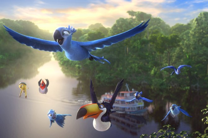 "Spix's macaws Blu and Jewel (voices of Jesse Eisenberg and Anne Hathaway) and company soar along the Amazon in ""Rio 2."" The movie is a sequel to the 2011 animated feature about a pair of parrots who now find their species isn't as rare as they thought."