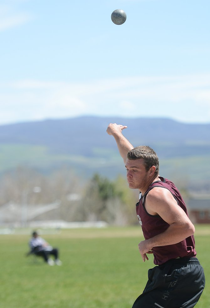 Soroco senior Ryan Jeep tosses the shot Friday at the Clint Wells Invitational track meet in Craig. Jeep has been a fixture on the Rams' football and basketball teams as well as a key cog for the Steamboat Springs High School baseball team. He decided to give track a try in his final season of high school sports.