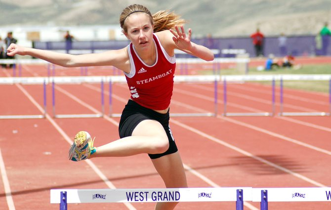 Steamboat's Isabel Feldmann races in the 300-meter hurdles Saturday at a track meet at West Grand High School. Feldmann finished seventh in the event. Teammate Meg O'Connell was ninth.