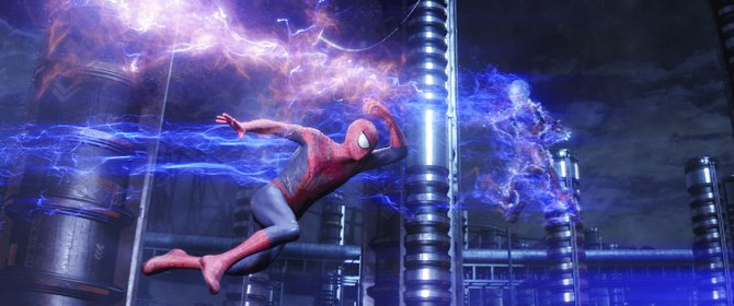 "Spider-Man (Andrew Garfield) narrowly avoids being fried by Electro (Jamie Foxx) in ""The Amazing Spider-Man 2."" The movie is a sequel to the 2012 reboot of the Marvel Comics character."