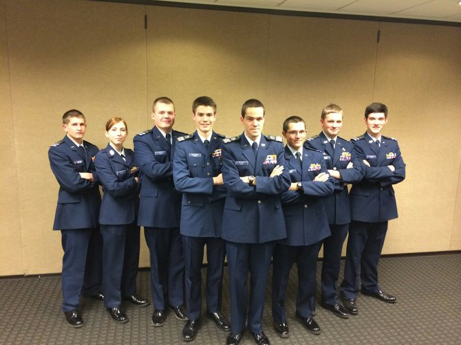 The cadet staff of the Colorado Wing Summer Encampment pose during a meeting recently. Local cadets pictured include Cadet Chief Master Sergeant Andrea Houston (second from left), of Hayden, Cadet 2nd Lieutenant Joshua Heald (third from left), of Steamboat, Cadet Captain Noah Gibbs (fifth from left) of Steamboat, and Cadet 1st Lieutenant Aidan Gibbs (sixth from left), of Steamboat.