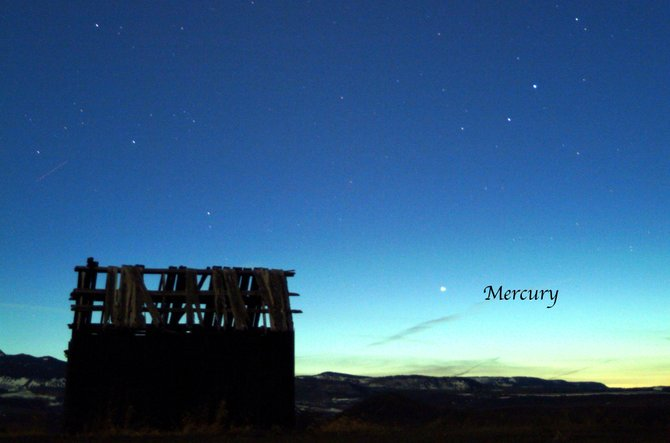 With clear skies and a little luck, you might spot the elusive planet Mercury during these last two weeks of May. Try looking low in the sunset glow of the western sky, about an hour after sunset. This image captured Mercury over the Flat Tops Wilderness Area near Yampa under similar circumstances back in April 2004.