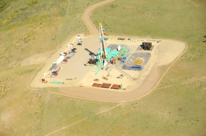 This aerial photo, taken in summer 2013, is of an Axia rotary rig in the Niobrara formation northwest of Elkhead Reservoir.
