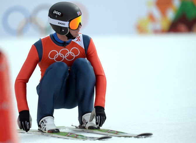 Bryan Fletcher looks back up the hill after completing a jump in the 2014 Olympics. Steamboat Springs-born Nordic combined skier was elected to the U.S. Ski and Snowboard Association Board of Directors as an athlete representative.