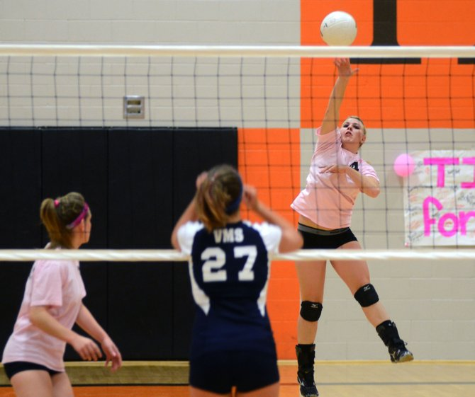 Hayden's Jordan Temple hammers home a kill in October against Vail Mountain. Temple helped guide the Tigers volleyball team back on track this year, bouncing back from a 4-18 season her sophomore year to a 10-8 record this year.