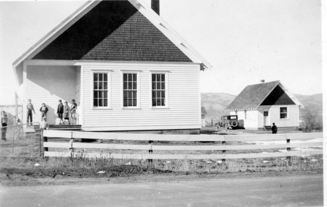 Mesa Schoolhouse is a one-story, wood frame structure, with a covered porch entry and bell tower. Originally, the white three-room schoolhouse included a small library, art room and cloakroom.