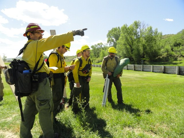 Northwest Colorado Fire Management crew members work through a leadership exercise Tuesday.