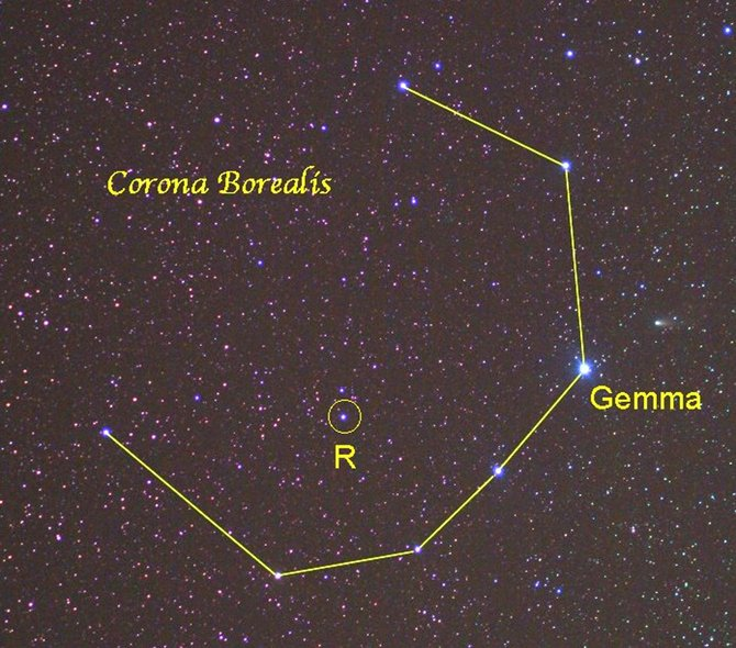 Corona Borealis, the Northern Crown, is easy to locate, twinkling almost directly overhead by 10 p.m. on June evenings.