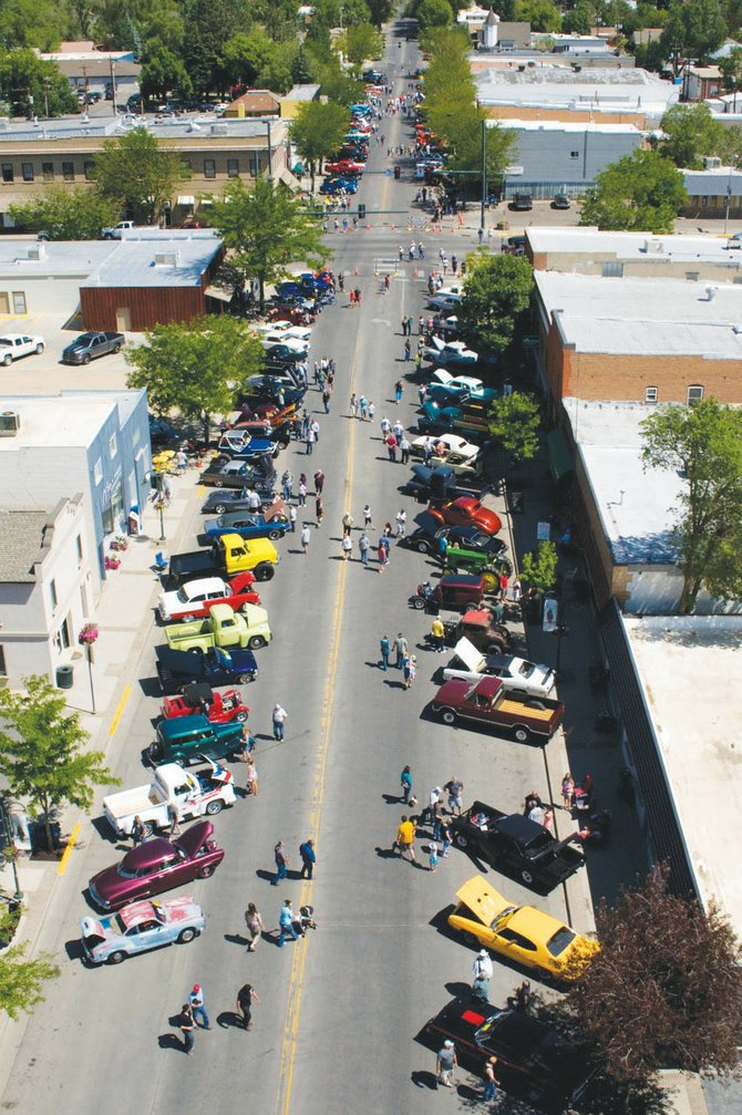 The Bear River Young Life Car and Motorcycle Show, pictured here in an aerial photo from 2012, will take place from 10 a.m. to 3 p.m. Saturday in downtown Craig, offering cash prizes for participants who bring in their classic vehicles.
