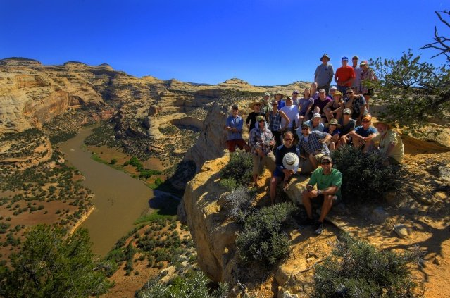 A group of more than 20 national conservationists, water policy stakeholders and other river advocates participated in a four-day raft trip through Yampa Canyon and Dinosaur National Monument as part of the Yampa River Awareness Project (YRAP), hosted by the local nonprofit Friends of the Yampa. This photo was taken at the top of Wagon Wheel Point overlooking Harding Hole on the Yampa.