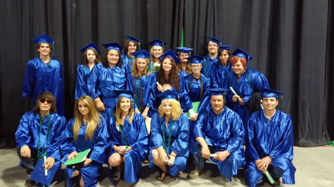 Graduates of the GOAL Academy program gather following the ceremony June 7 in Pueblo. 31 total students from Northwest Colorado graduated, though not all were able to attend. Top row, from left: Kyle Hammer, Taylor Munden, Jordan Braley, Colter Tegtman, Samantha Wagoner,  Kyri Scroggs, Brittany Corey, Christianna Laniel, Cassandra Hanson, Randall Durkop, Joshua Cooper, Jordan Harmon. Bottom row, from left: Croix Orona , Anna Gates, Savannah Meyring, Emilee Dorhman, Richard Harmon, Dustin Haggerty. Not Pictured: Kortney Bailey, Josie Bocco, Brandt Brandolino, Corrine Emerson, Andrew Jennings, Nikolette Niquette, Austin Stauffer, Dawn Tippy, Dyland Trevenen, Sherry Welch, Theadora Bowlds, Kyla Hedman, Brook Mower.