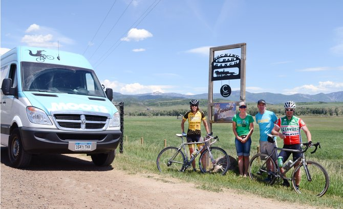 Moots public relations manager Cathy Wiedemer and marketing manager Jon Cariveau, center, found fellow riders Rose and Matt Alford on Routt County Road 44 on Monday while surveying the route for the upcoming Moots Ranch Rally. The non-competitive ride is set for Saturday, with all proceeds going to the Community Agriculture Alliance.