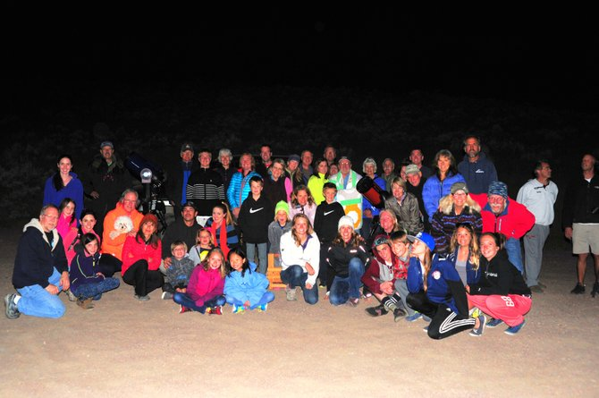 This group of astronomy enthusiasts gathered for the Stagecoach Star Party on Friday evening at Stagecoach State Park. Colorado Mountain College astronomy professor Jimmy Westlake, far left, hosted the event, which featured telescopic views of the planets Mars and Saturn. Professor Westlake will host another stargazing event at the Yampa River State Park campground at 9:30 p.m. Saturday.